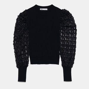 Zara tulle sleeve sweater